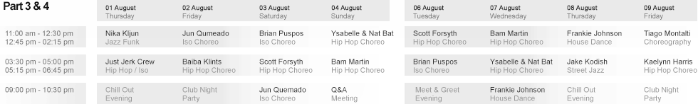 Schedule Part 3 & 4