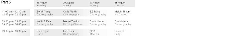 Week 5 Schedule